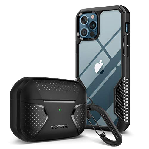 [Bundle] MOBOSI Net Series Airpods Pro Case Cover(Black) & Vanguard Armor Compatible with iPhone 12 Pro Max Case 6.7 Inch (Matte Black)
