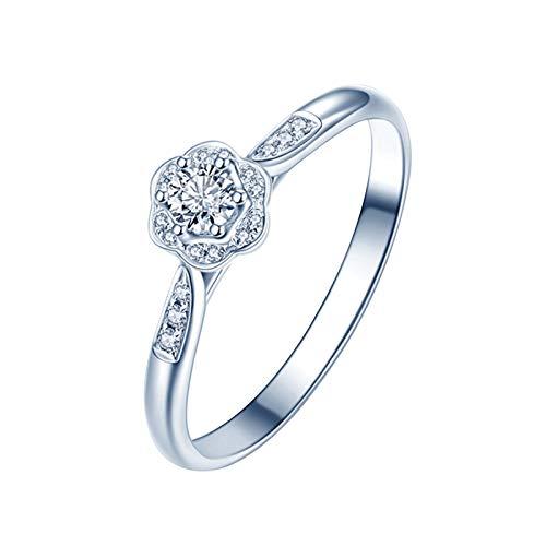 Ubestlove Solitär Ring Weißgold Strauß Ehering Kissen Hochzeit 0.1Ct Diamant Ringe Größe 61
