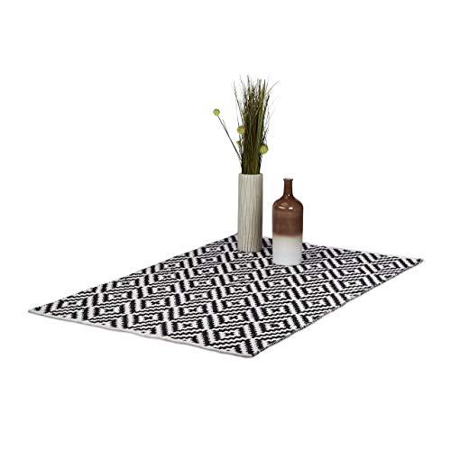 Relaxdays Teppich Baumwolle, Läufer rutschfest, Teppichläufer Flur, gewebt, Wohnzimmerteppich 120x180 cm, schwarz weiß