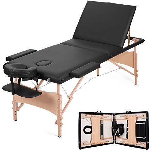 MaxKare Portable Massage Table Adjustable Lash Bed Three-Fold Massage Bed 84'' Facial Professional...