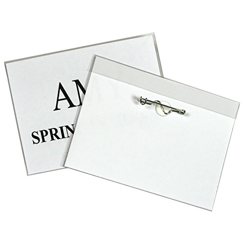 C-Line Pin Style Name Badge Holders with Inserts, 3.5 x 2.25 Inches, 100 per Box (94223)