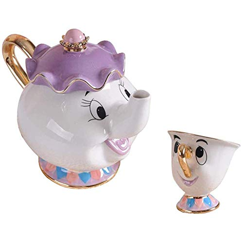 Beauty and The Best Tea Mrs.Potts Tetera Y Taza Escultura De Chip Juego De Té De Cerámica Figura,Blanco