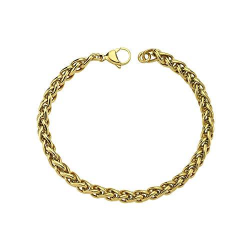 Luzdemia Chapado en oro de 14 quilates en acero inoxidable, longitud: 21 cm pulsera de nueva temporada