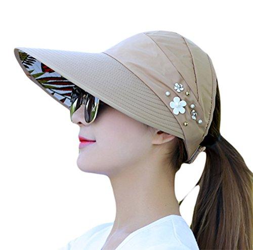 Demarkt Faltbare Sonnenhut Damen UV Schutz Hüte Sonnenschutz Hut Sommerhut Baumwolle Anti UV Mützen (Khaki)
