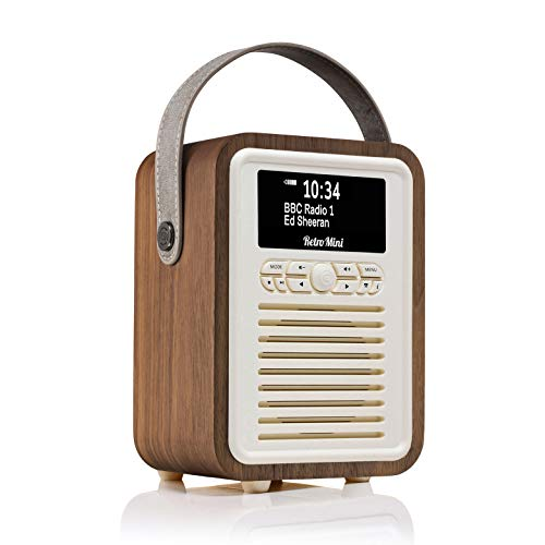 VQ Retro Mini Radio Digital Dab & Dab+ con FM, Bluetooth y Reloj Despertador - Nuez
