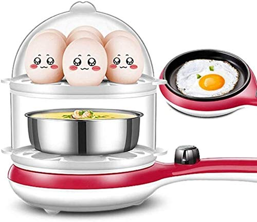 ZHAOJIA 3-in-1-Ei-Kessel, Multifunktion Automatische Schnelle elektrische Ei-Kessel mit automatischer Abschaltfunktion, verwendet for Dumpling Omelette, 14 Kapazität Dumplings (Farbe: rot)