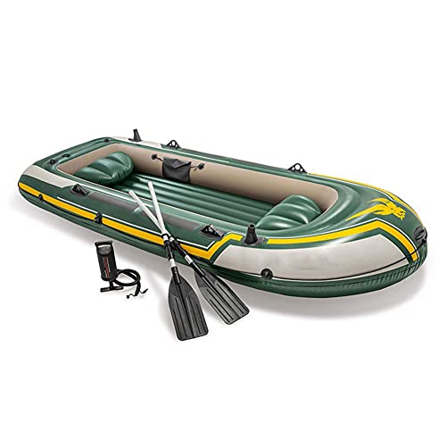 Kayak, 351x145x48CM, PVC Thickene Bote Inflable Bote de Deriva Bote de Pesca Caucho Canoa de Aventura para Adultos, 4 Personas Kayak Inflable con Paleta de plástico y Bomba de Aire