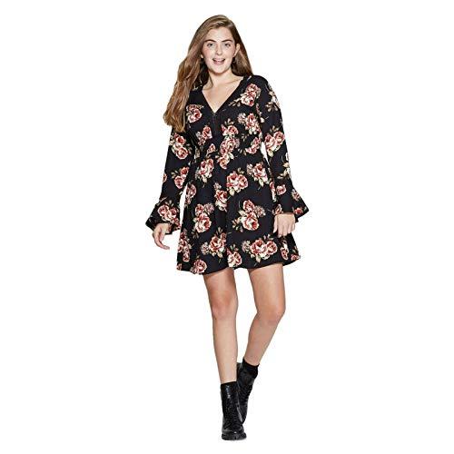 Xhilaration Floral Print Deep V Neck Long Bell Sleeve Lace Trim Mini Dress Black XX-Large