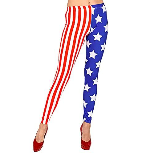 WIDMANN 29354 29354-Leggings para Mujer, elásticos, diseño de Bandera de Estados Unidos, para Uso Diario, Deporte, Disfraz, Carnaval, Fiesta temática, Multicolor, Large/Extra-Large