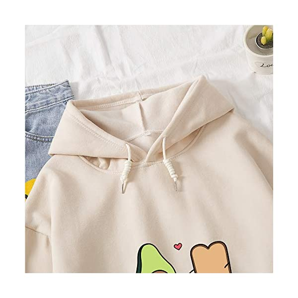 Cartoon Cute Avocado Printed Relaxed Cotton Pullover Hoodie with Pocket