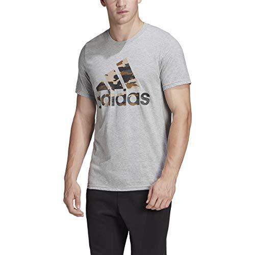 adidas Badge of Sport Camo Tee Medium Grey Heather XL