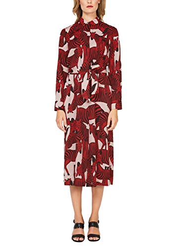 s.Oliver BLACK LABEL Damen Hemdblusen-Kleid mit Allover-Print pink AOP 42