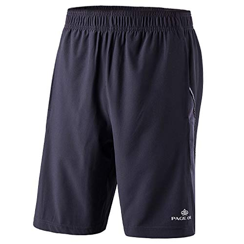 PAGE ONE Mens Active Quick Dry Athletic Essential Performance Shorts with Pockets Black