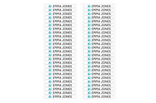 50 personalisierte Minis-Klebeetiketten zur Kennzeichnung von Objekten, Stiften, Stiften usw. Abmessungen 4,2 x 0,5 cm. Color Weiß