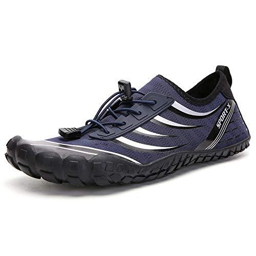 Zapatos de Agua Hombres y Mujeres Senderismo Deportes al Aire Libre Que vadea los Zapatos de Playa de la Piscina Calzado Adecuado para Nadar Surf (Color : Blue, Size : 42)