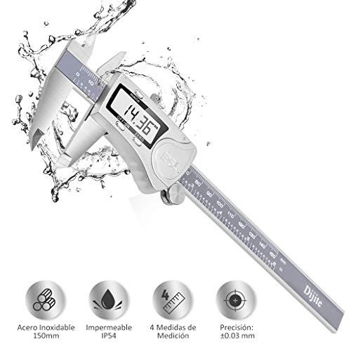 Calibre Digital Inoxidable 0-150mm, Pie de Rey Digital Profesional, Pantalla Electrónica LCD de Acero Inoxidable, Impermeable IP54, ± 0.03mm Gran pantalla LCD Medida Calibre Profundidad