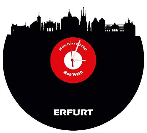 Wanduhr Erfurt Skyline,rot-weiß, Fußballuhr, hochwertige Acrylglasuhr Wanduhr mit Quarzwerk