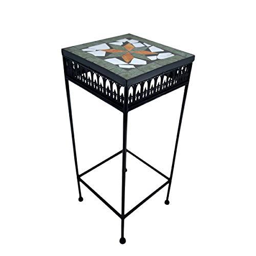 PrimoLiving Metall Blumenhocker/Beistelltisch Mosaik eckig schwarz Gr. S (P-904)