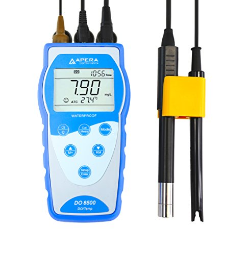Apera Instruments AI485 DO8500 Portable Optical Dissolved Oxygen Meter Kit, Auto Compensation for Temperature, Air Pressure and Salinity, GLP Data Management