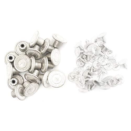 Trimming Shop 14mm Mat Zilveren Jeans Knopen met Pins Vervangende Snap Fasteners voor Jassen, Kleding, Broek, Naaien Breien Ambachten, Versieringen, Duurzaam en Sterk