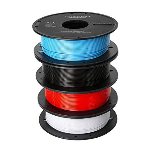 Filamento PLA 1,75 mm, TINMORRY PLA filamento per stampante 3D, filamento senza tangle-free, materiale di stampa 3D, 500g per bobina, 4 bobine, nero + bianco + rosso + blu
