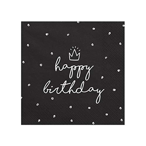 Servietten schwarz Happy Birthday, 33 x 33 cm, 1Pack(20Stück) SP33-15-010
