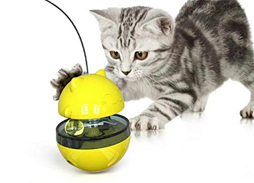 HFBBY Best Interactive Cat Toys Tumbler Leaking Food Ball with Teasing Wand,Slow Food Feeder Funny Cat Stick Toy for Cats Kitten Exercise Interactive Game : 3.9 x 4.9 inches