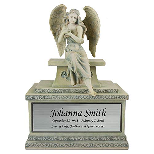 Perfect Memorials Custom Engraved Large Hold My Heart Angel Cremation Urn