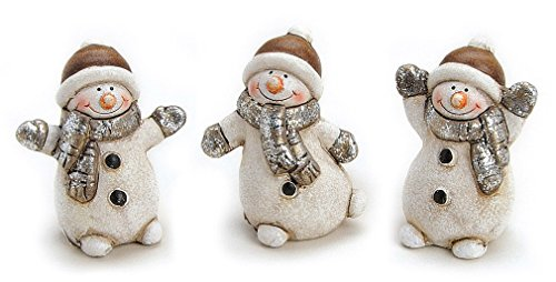 3x Deko Figur Schneemann im Set je 6 cm, Ton altweiß braun, lustige Tonfigur witzige Figur Winter Weihnachten Winterdeko Schneemannfiguren