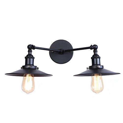 Lámparas de pared de doble cabeza, luces de pared de brazo oscilante plegables ajustables con cabezal de dirección, luminaria de aplique de sala de estudio industrial de metal loft retro,Negro