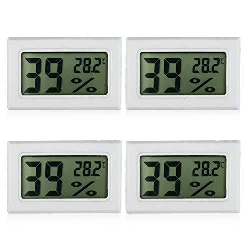 Perfuw Digitales Thermometer, Hygrometer, 1 Packung Mini-Temperatur, Luftfeuchtigkeitsmesser, genaues Raumthermometer für Humidor/Gewächshaus/Garten/Keller/Kühlschrank/Mason Jar, weiß, 4 pcs