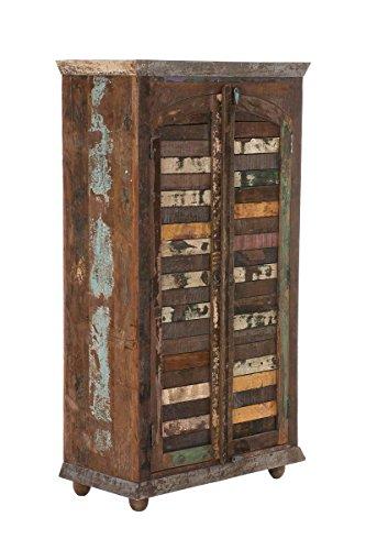CLP Schrank Tamana aus recyceltem Teakholz I Highboard mit 3 großen Fächern und Klapptüren I Mehrfarbige Holzkommode im Vintage-Look Bunt