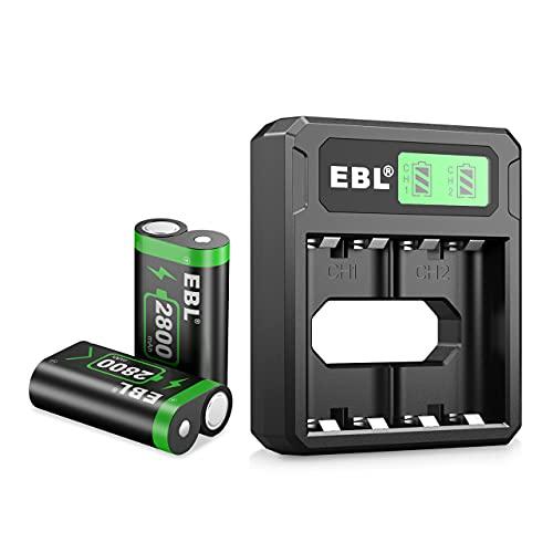 EBL Xbox One Akku 2800 mAh 2 Stück und passender Akku Ladegerät – Xbox One Controller wiederaufladbare Batterien und Ladegerät Sets, Ultra für Xbox One/One X/One Elite/One S Controller