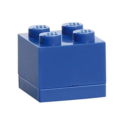Lego Box 4, Mini Lego Box mit 4 Knöpfen, Snack Box, Blau, 4,6 x 4,6 x 4,3 cm