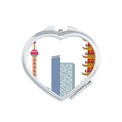 DIYthinker Chine Architecture Chinoise L'Oriental Pearl TV Tower Haut-Lieu Touristique Culture Traditionnelle Illustration Motif Coeur Maquillage Comp