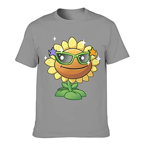 Pflanzen vs Sonnenblume Kuschelig Verschiedene Typen Kurzärmliges T-Shirt für Sohn Tochter Pflanzen vs Dark Gray m