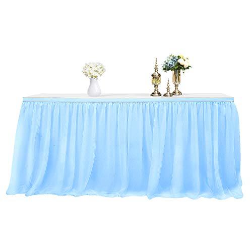 MineSha Handmade 2 Yards 3 Schichten Mesh Fluffy Tutu Tüll Tisch Rock für Party, Hochzeit, Geburtstagsfeier, Baby Dusche Dekoration (L 6Fuß * H 30 inch, Blau)