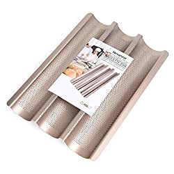 top 10 baguette pan 15 x11″ baguette cans, non-stick baguette baking trays for French and Italian bread …