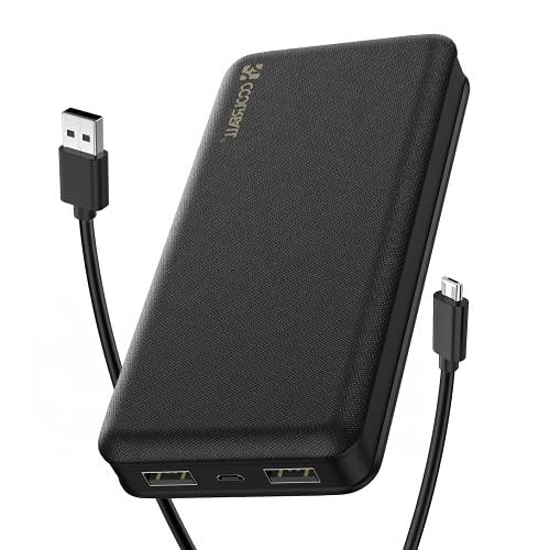 CoolReall Powerbank 20000mAh, Batterie Externe Pratique avec 2 sorties Rapides (2.0A + 2.0A), Chargeur Batterie Portable pour Téléphones Portables de Grande Capacité pour 1Phone, Galaxy, Huawei, iPad