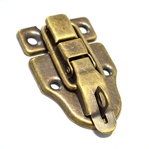 "5 Pcs Bronze Latch Hasps Decorative Vintage Locks with Hook Clasp Closure for Jewelry Case Wooden Box Chest Suitcase Briefcase (Length:2-1/4"", Width:1-5/8"")"