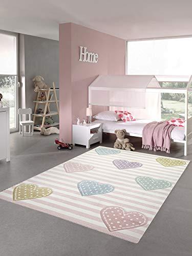 Teppich-Traum Kinderteppich Herzen Kinderzimmerteppich Mädchen in rosa lila grün Größe 200 x 290 cm