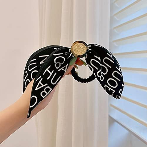 SSMDYLYM Nuevas Mujeres Elegantes Vintage impresión Arco Nudo Perlas elástico Banda de Pelo Dulce Diadema Banda de Goma Scrunchie Moda Accesorios de Pelo (Color : A)