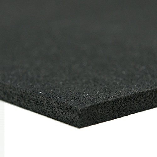 "Rubber-Cal Recycled Rubber - 60A - Rubber Sheets and Rolls - 1/4"" Thick x 4ft Width x 6ft Length - Black"