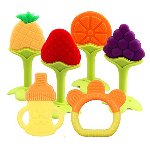 Baby Teething Toys 6 Packs BPA Free Silicone Baby Teethers, Freezer Safe Organic Infant Teething Toys Soft & Textured for Natural Brain Development