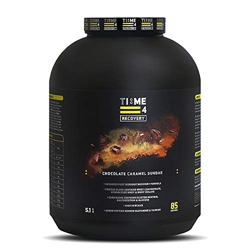 Time 4 Recovery - Post Workout Recovery Protein Powder, Recovery Protein Blend - Whey Isolate, Whey Concentrate, Hydrolysed Whey + Carb Blend – Recovery Formula (5.1kg, Chocolate Caramel Sundae)