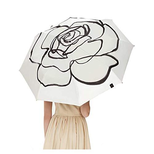 Sonnenschirm Kleiner schwarzer Regenschirm weiblicher Anti-UV Sonnenschutz Regenschirm faltender doppelschichtiger schwarzer Regenschirm, neue Blüte, Stern-Einzelteil Pflanze (Color : White)