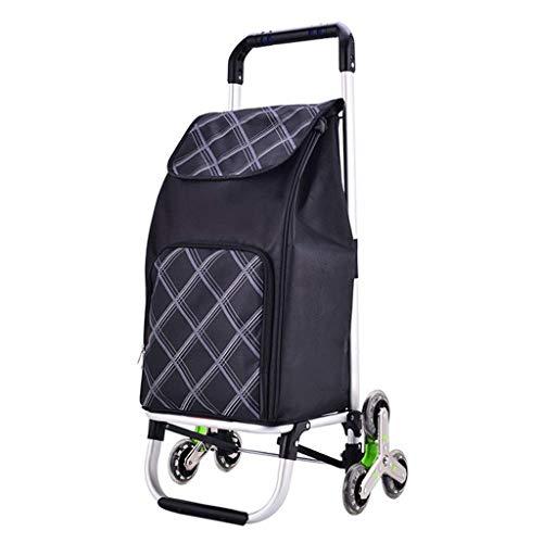 Z-SEAT Warenkorb Treppensteigen mit 6 Rädern für Lebensmittelmarktreisen Leichte Mobilität Einkaufswagen Gepäck Organisationstaschen, Aluminiumlegierung/Oxford-Stoff, Sch