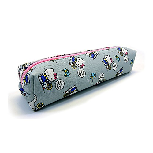 Sanrio Hello Kitty Pencil Case Multi-Purpose Pouch 1pc: Playing with Kitty (Gray)