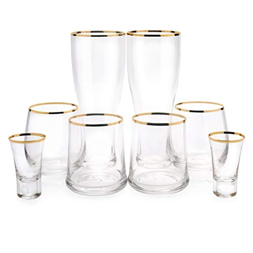 KJM and Co. 8 Piece Glassware Set - Gold Rimmed Drinking Glasses - Beer, Wine, Tumbler, and Shot Glass Set - Perfect Gift for Bar Set - Wedding Gifts - Or Any Other Occasion