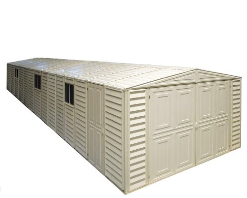 Duramax 01614 Vinyl Garage Shed with Foundation and Window, 10 by 31-Inch